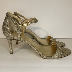 Michael Kors Gold Strappy Open Toe Stilettos 11
